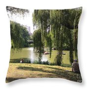 Weeping Willows In Central Park  Throw Pillow