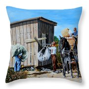 Weighing Cotton In The Field 1930s Throw Pillow