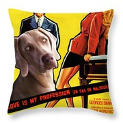 Weimaraner Art Canvas Print - Love Is My Profession Movie Poster Throw Pillow