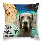 Weimaraner Art Canvas Print - River Of No Return Movie Poster Throw Pillow