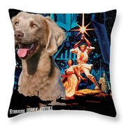 Weimaraner Art Canvas Print - Star Wars Movie Poster Throw Pillow
