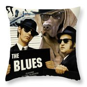 Weimaraner Art Canvas Print - The Blues Brothers Movie Poster Throw Pillow