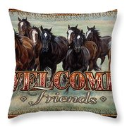 Welcome Friends Horses Throw Pillow