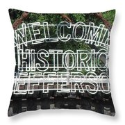 Welcome Historic Jefferson Texas Railroad Sign Throw Pillow