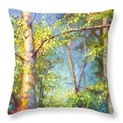 Welcome Home - Birch And Aspen Trees Throw Pillow