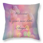 Welcome New Baby Greeting Card - Tulips Throw Pillow