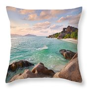 Welcome To La Digue Throw Pillow