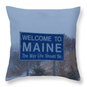 Welcome To Maine Sign Throw Pillow