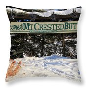 Welcome To Mt Crested Butte Throw Pillow