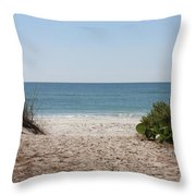 Welcome To The Beach Throw Pillow by Carol Groenen