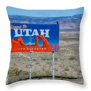 Welcome To Utah Throw Pillow