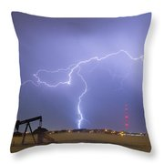 Weld County Dacona Oil Fields Lightning Thunderstorm Throw Pillow