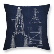 Well Drilling Apparatus Patent From 1960 - Navy Blue Throw Pillow
