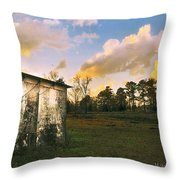 Old Well House And Golden Clouds Throw Pillow