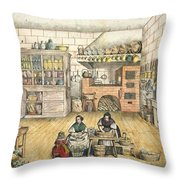 Well Stocked Rustic Kitchen Throw Pillow