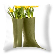 Wellington Boots Throw Pillow by Amanda Elwell