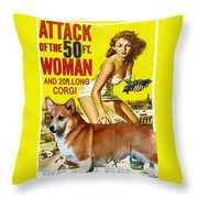Welsh Corgi Pembroke Art Canvas Print - Attack Of The 50ft Woman Movie Poster Throw Pillow