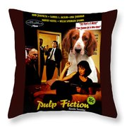 Welsh Springer Spaniel Art Canvas Print - Pulp Fiction Movie Poster Throw Pillow