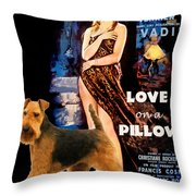 Welsh Terrier Art Canvas Print - Love On A Pillow Movie Poster Throw Pillow