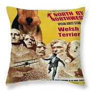 Welsh Terrier Art Canvas Print - North By Northwest Movie Poster Throw Pillow