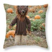 Werewolf In The Pumpkin Patch Throw Pillow