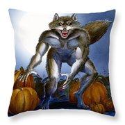 Werewolf With Pumpkins Throw Pillow