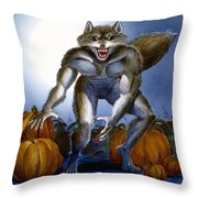 Werewolf With Pumpkins Throw Pillow