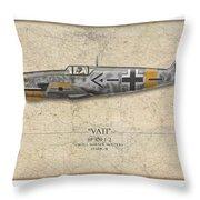 Werner Molders Messerschmitt Bf-109 - Map Background Throw Pillow