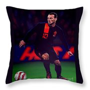Wesley Sneijder  Throw Pillow by Paul Meijering