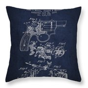 Wesson Hobbs Revolver Patent Drawing From 1899 - Blue Throw Pillow