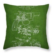 Wesson Hobbs Revolver Patent Drawing From 1899 - Green Throw Pillow