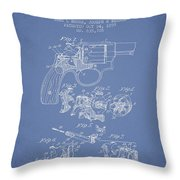 Wesson Hobbs Revolver Patent Drawing From 1899 - Light Blue Throw Pillow