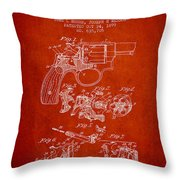 Wesson Hobbs Revolver Patent Drawing From 1899 - Red Throw Pillow