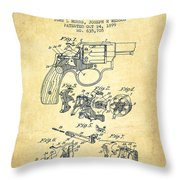Wesson Hobbs Revolver Patent Drawing From 1899 - Vintage Throw Pillow