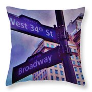 West 34th And Broadway Throw Pillow