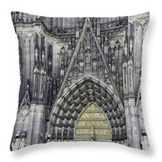 West Entrance Door Cologne Cathedral Throw Pillow