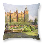 West Front And Gardens Of Hatfield Throw Pillow