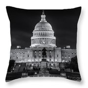 West Front Of The National Capitol Bw Throw Pillow