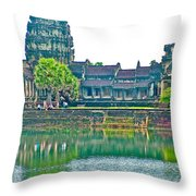 West Gallery From Across Moat In Angkor Wat In Angkor Wat Archeological Park Near Siem Reap-cambodia Throw Pillow