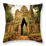 West Gate To Angkor Thom Throw Pillow