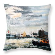 West India Dock Entrance And The Gun Public House Throw Pillow