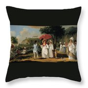 West Indian Landscape With Figures Promenading Before A Stream Throw Pillow