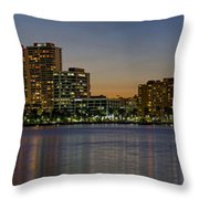 West Palm Beach At Twilight Throw Pillow