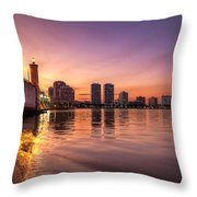 West Palm Beach Skyline At Dusk Throw Pillow