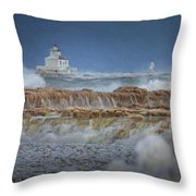 West Pierhead In Ice Throw Pillow