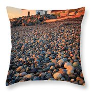 West Point Lighthouse Rocks Throw Pillow