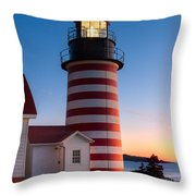 West Quoddy Head Light At Dawn I Throw Pillow