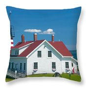 West Quoddy Head Light Throw Pillow