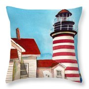 West Quoddy Light House Throw Pillow
