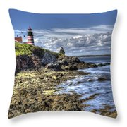 West Quoddy Lubec Maine Lighthouse Throw Pillow